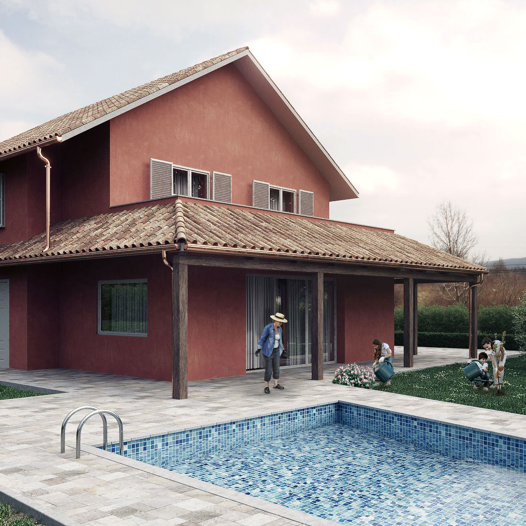 Countryside villa pool view