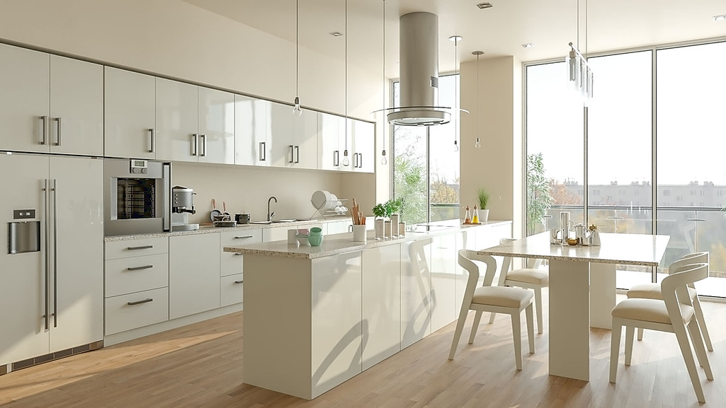 Modern white kitchen window view