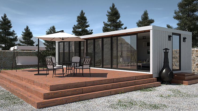 Container house day render