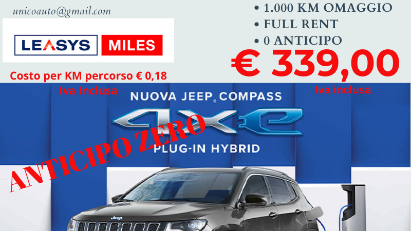 JEEP COMPASS 1.3 T4 190CV 4XE AUT. BUSINESS