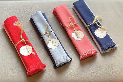 Pack de servilletas de lino rojo/rosado