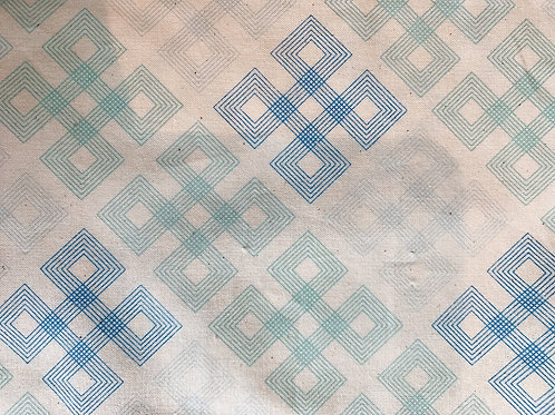Retazo azules verdes geométricos 19x21 cms
