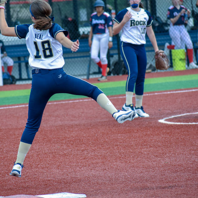 Ava Beal Hangs on the Ball at First Base