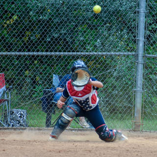 Ava is Catches the Ball at Home Plate