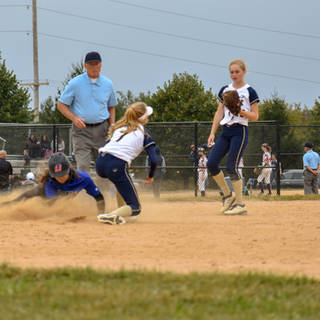Helen Puts the Tag on the TLI 23 Base Runner