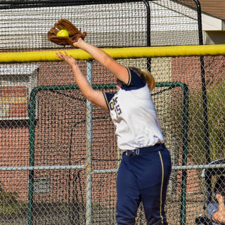Kady Olsen Catches a Pop Up at First Base