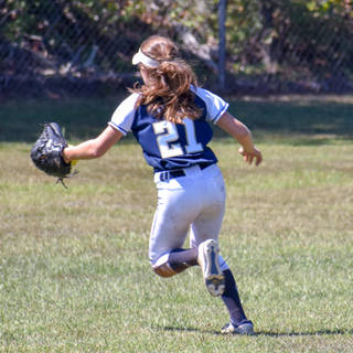Angelina Stops a Ball in Centerfield