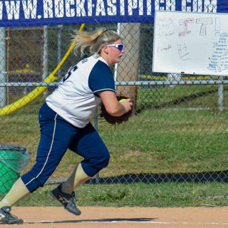 Kady Olsen Makes a Play at First Base