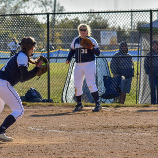 Abbey Gets Ready to Throw to Kady at First