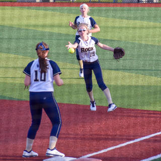 Katy Tosses to Violet for the Out at First