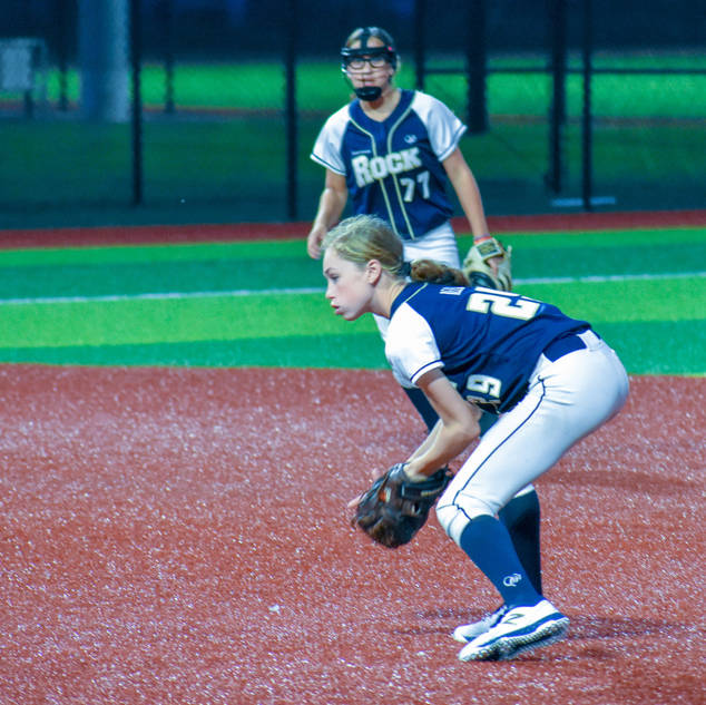 Katie Reed Plays a Ground Ball at Second