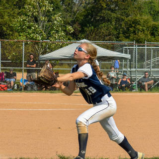 Katie Reed Goes After a Ball at Second Base