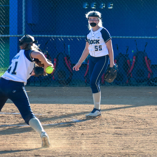 Abbey Plays a Grounder at Third Base