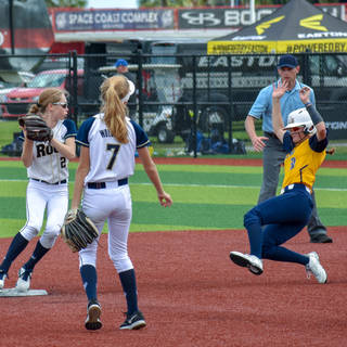 Katie Reed Tries to Turn a Double Play