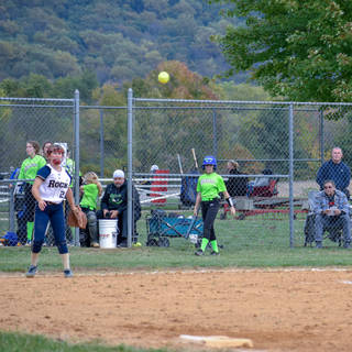 Jenna Throws to Katie Reed at First Base