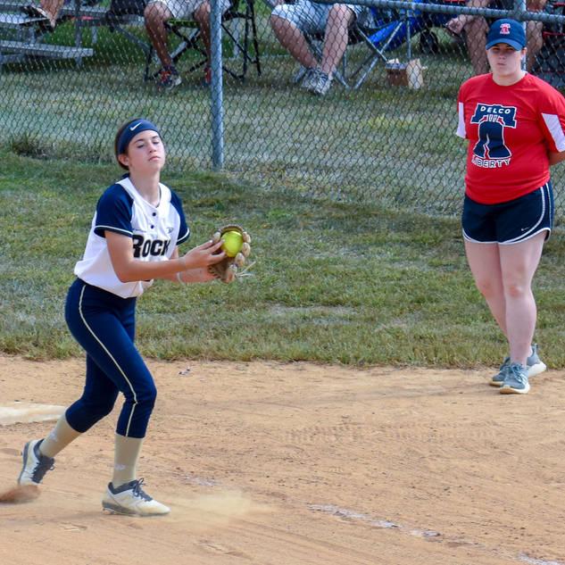 Ava Beal Gets a Groundball at First Base