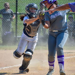Jenna Morrison Tags the Venom Base Runner
