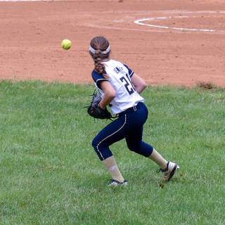 Angelina Makes a Play in Center Field