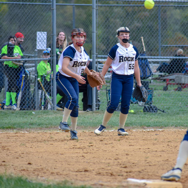 Jenna Throws to Katie for the Out at First