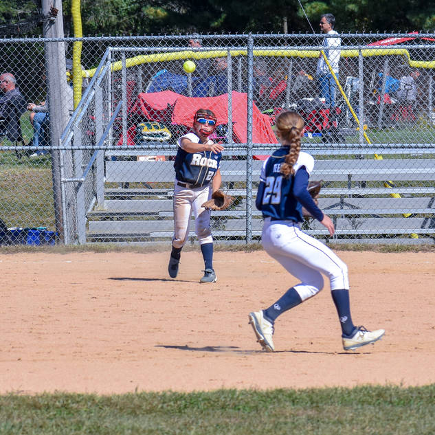 Jenna Throws to Katie for the Out at Second
