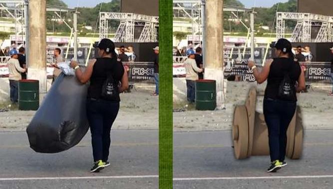 Simulação do carrinho-suporte de Patrícia Caju