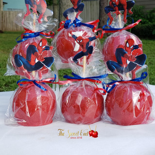 Spider man Theme Candied Apples