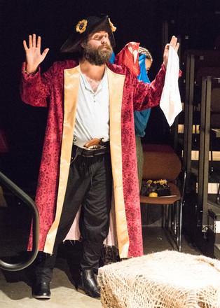 Spencer Gilbert as Long John Silver with Captain Flint in Treasure Island. Photo by Brandon James.