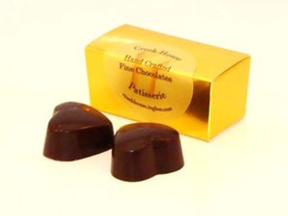 2 Double Dark Heart Chocolate Truffles/Bonbons (with dairy), 25 Boxes