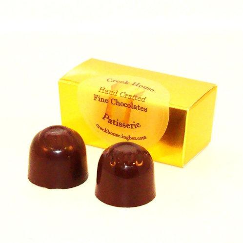 2 Dark Chocolate Truffles/Bonbons, Organic Vegan, 25 Boxes