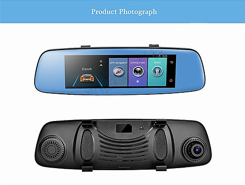 """4G Android Dual Lens Car DVR 7.84"""" Touch Remote Monitor"""