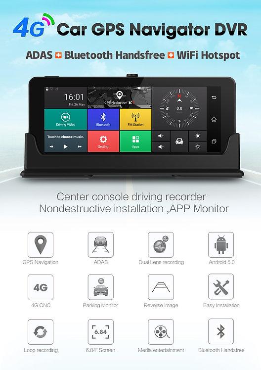 """4G ADAS Car DVR GPS Navigator Camera 6.84"""" Android"""