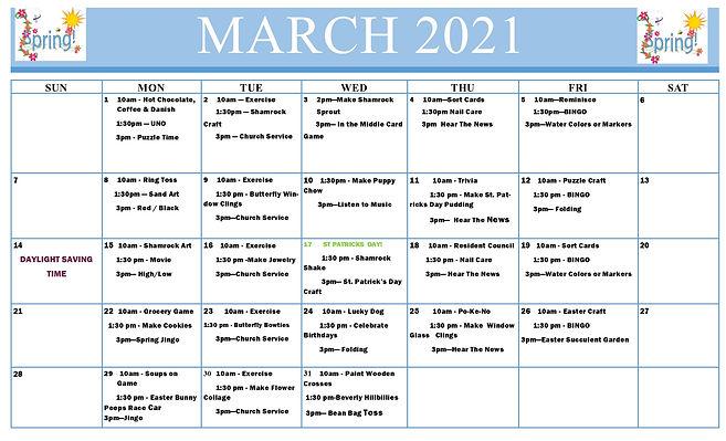 March Activities Calendar wo-Birthdays (