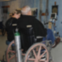 Resident and physical therapy doing exercising  techniques