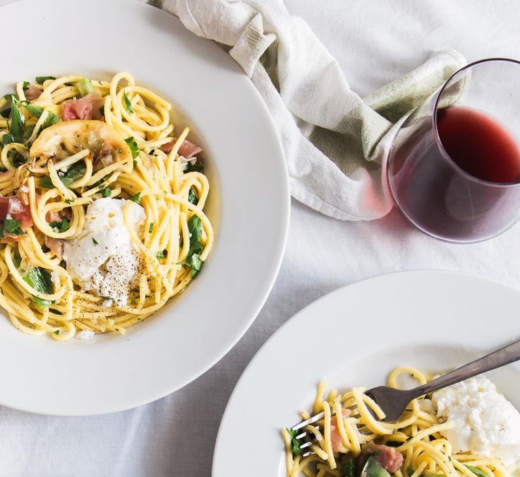 Spaghetti Carbonara and Red Wine – Dubai food photography