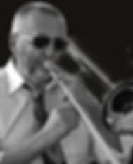 Pete Middleton plays trombone with the Sunset Cafe Stompers
