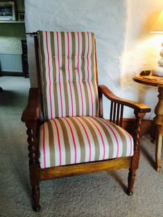 Plantation chair in Coconut Candy fabric!