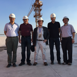 Frank at the construction site of the T.D. Lee Institute, Shanghai, China