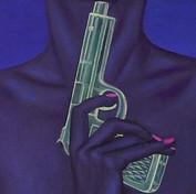 peinture-huile-pistolet-à-eau-femme-bleue-suicide