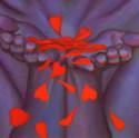 peinture-huile-pétales-de-rose-femme-bleu