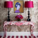 peinture-huile-kabuki-décoration-fuschia