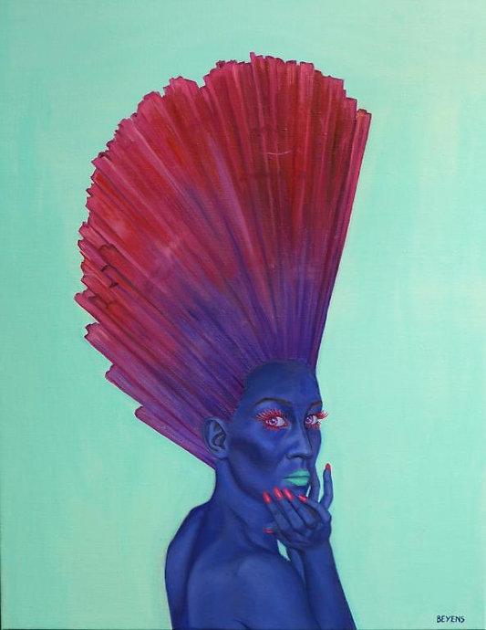 peinture-huile-femme-bleue-cristal-rouge