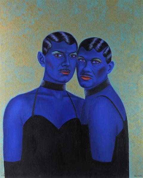 Peinture-huile-drag-queen-bleu-jumeaux