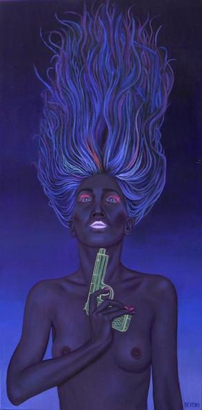 peinture-a-l-huile-femme-bleue-pistolet-fluorescent-suicide