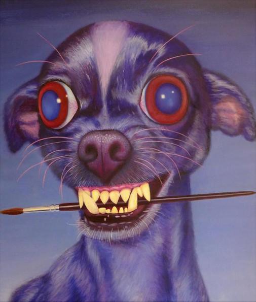 peinture-huile-chihuahua-bleu