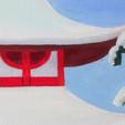 peinture-huile-temple-rouge-japon-neige