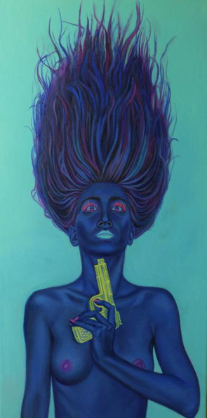peinture-huile-femme-bleue-pistolet-fluorescent-suicide