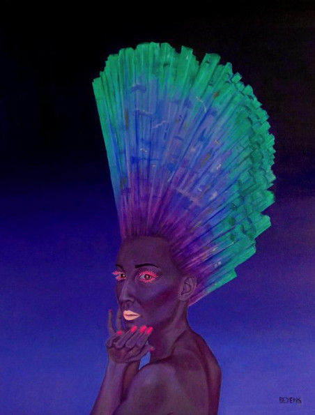 Peinture-huile-femme-bleue-cristal-de-roche-vert