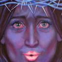peinture-huile-femme bleue-couronne-d-épine-rouge-à-lèvre-rose