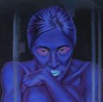peinture-à-l-huile-femme-bleu-cloche-en-verre-culpabilité