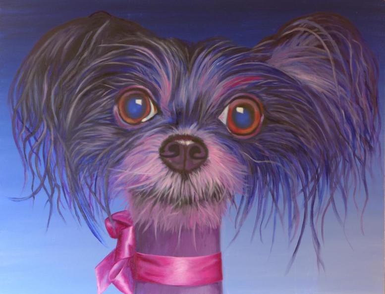 peinture-huile-chien-bleu-avec-ruban-rose